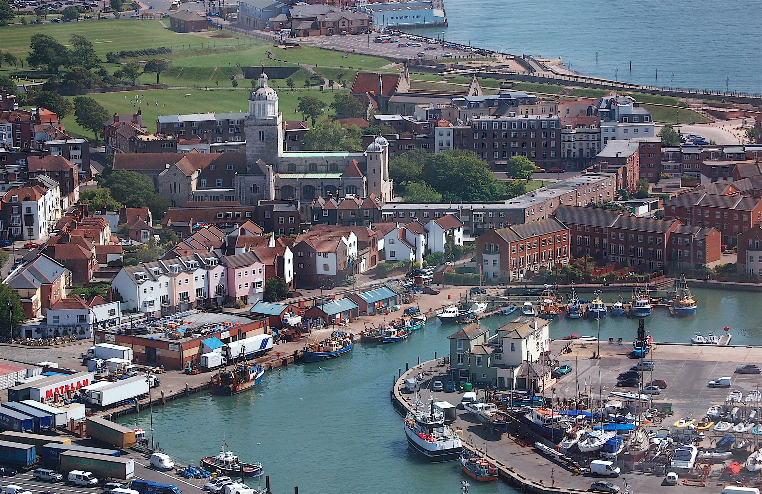 Aerial view of Old Portsmouth, Hampshire, England, UK