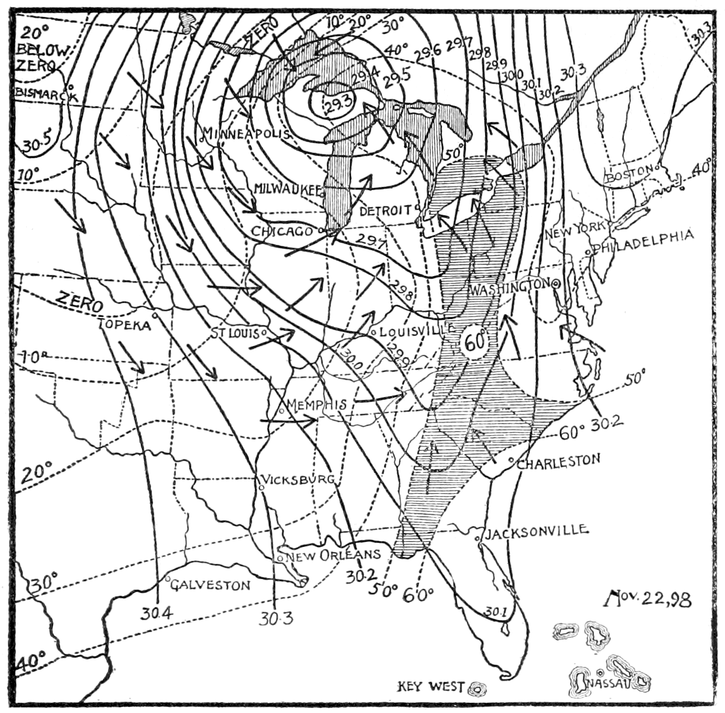 PSM V58 D397 Cyclone pattern and changing temperatures of nov 22 1898.png