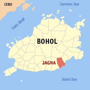 Map of Bohol showing the location of Jagna
