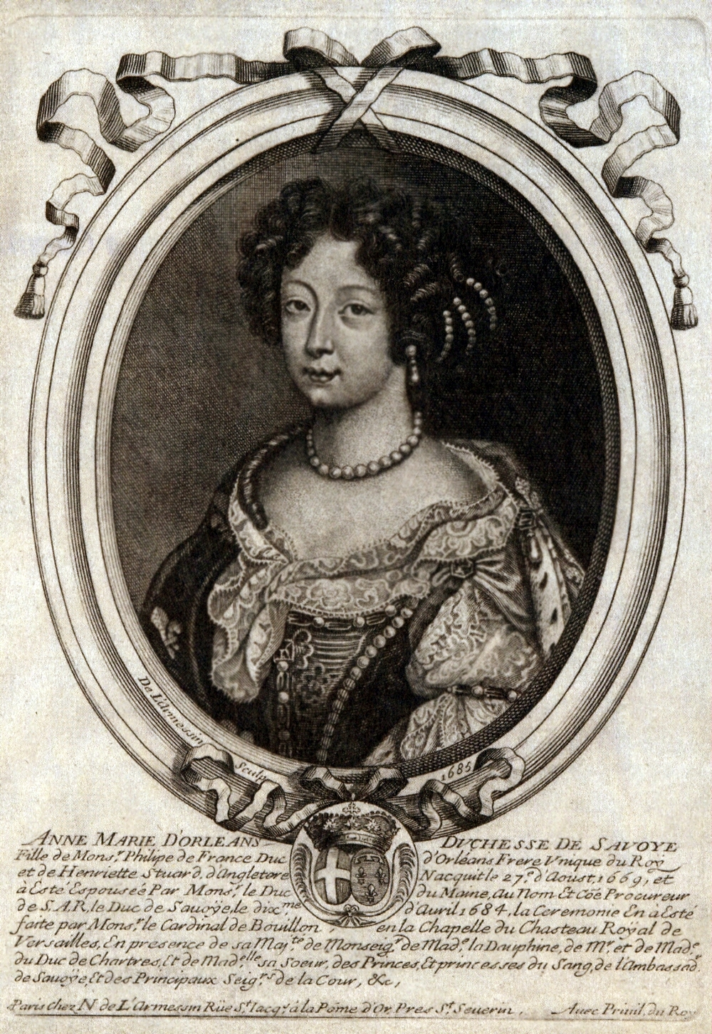 File:Portrait drawing of Anne Marie d'Orléans, Duchess of Savoy 1684.