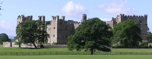 A wide view of the castle showing the towers and defences from the north east