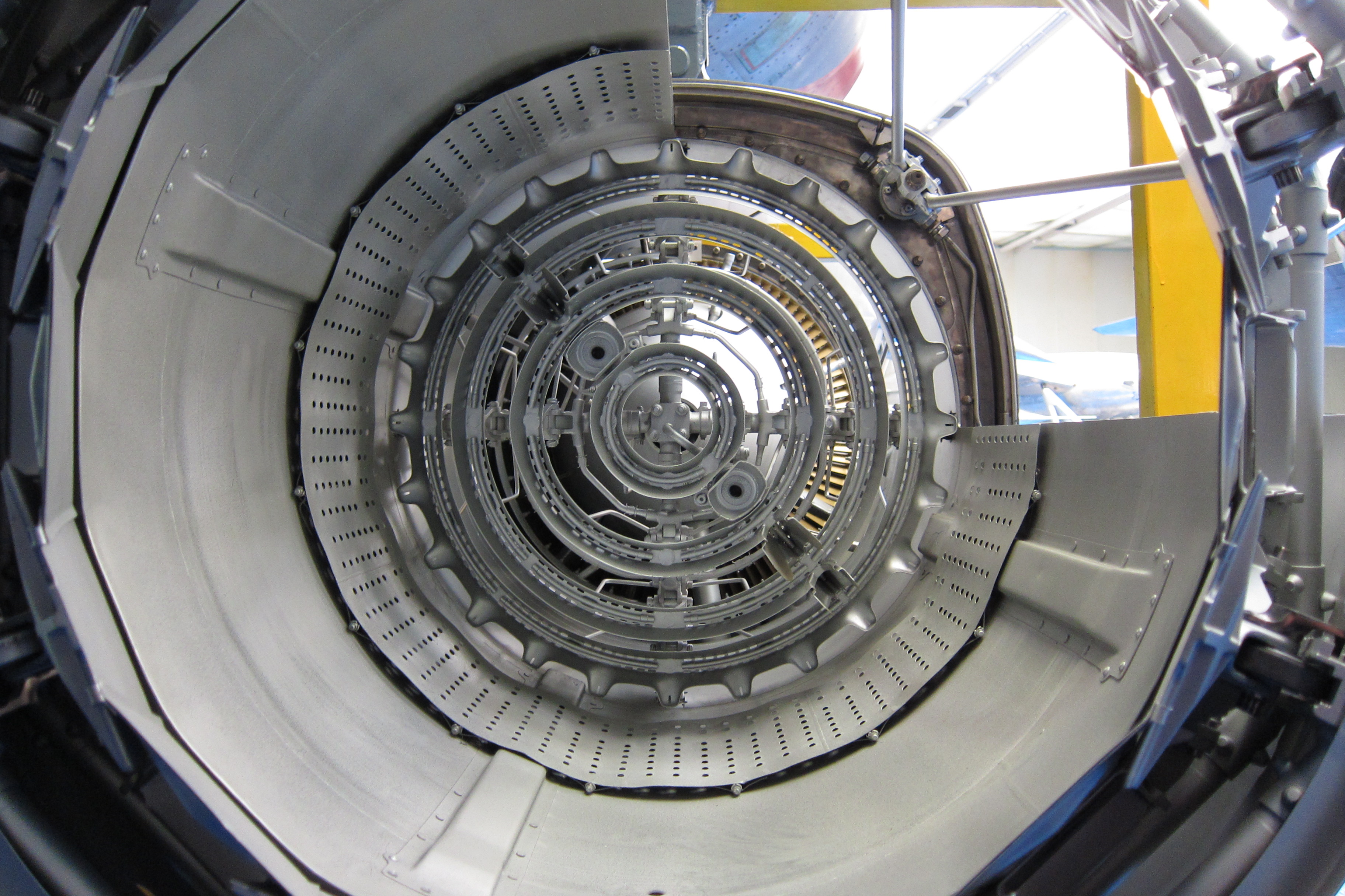 File Rear view of afterburner in sectioned Rolls Royce Turboméca