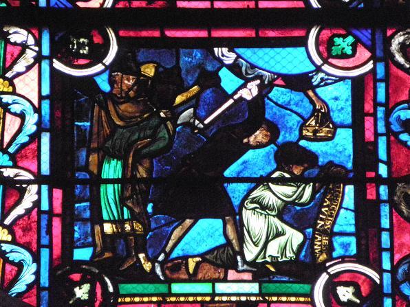 Sabinians martyrium, glassmaleri i det aksiale kapellet ved erkebispesetet i Sens