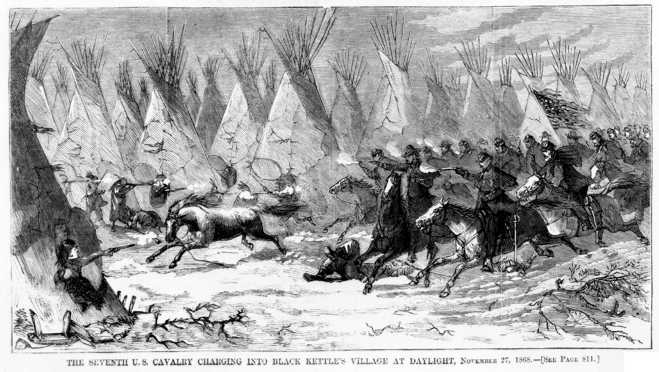 File:Seventh Cavalry Charging Black Kettle s Village 1868.jpg ...