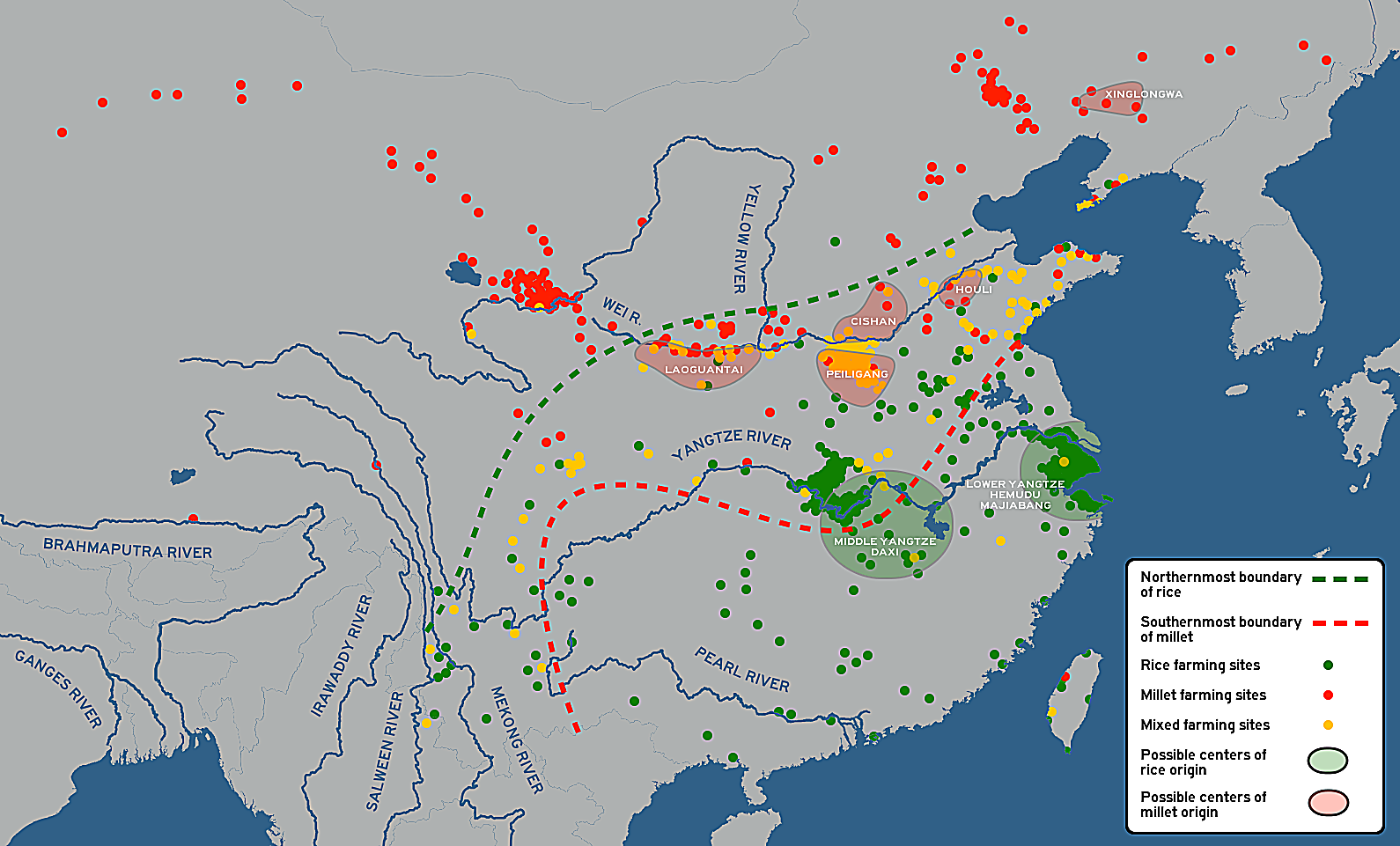 Rice and millet mixed farming sites in neolithic China
