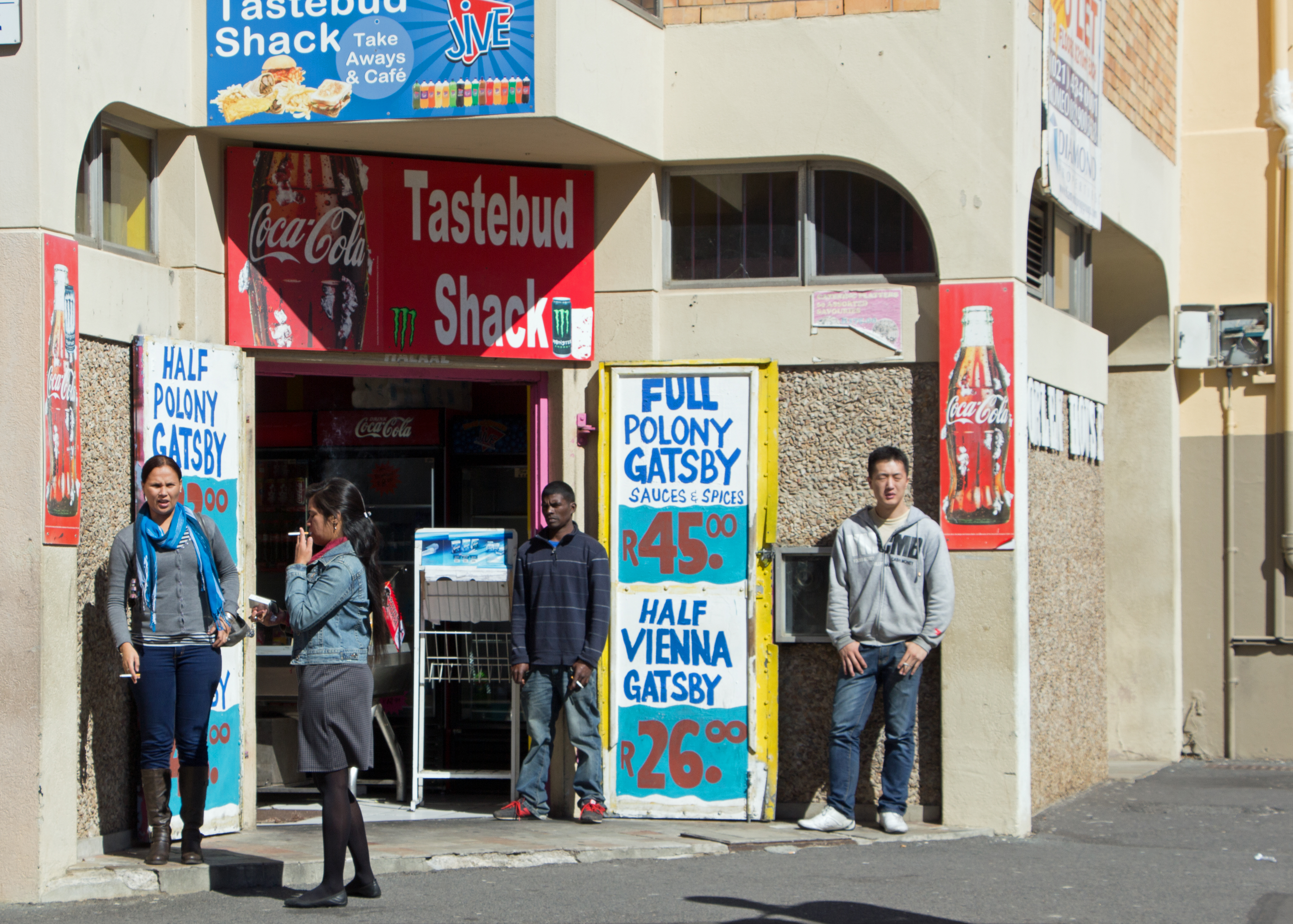 A store in Cape Town, South Africa with signage for Gatsby sandwiches