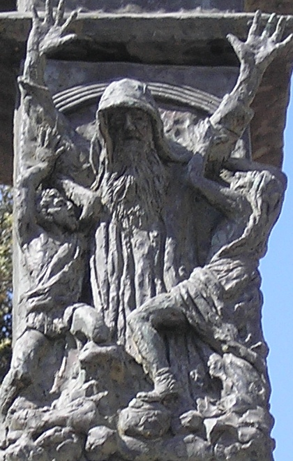 Depiction of Moses on the Knesset Menorah raising his arms during the battle against the Amalekites The Knesset Menorah P5200010 Moses.JPG
