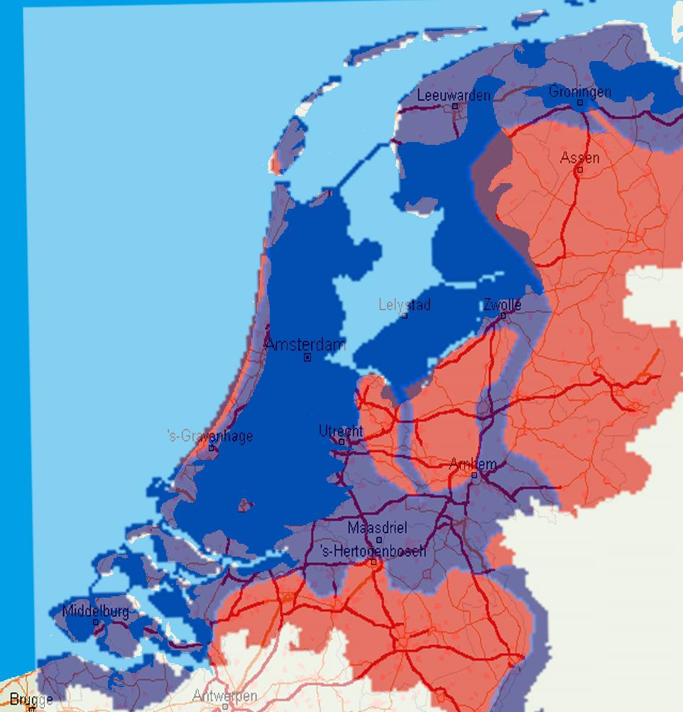 Netherlands Below Sea Level Map