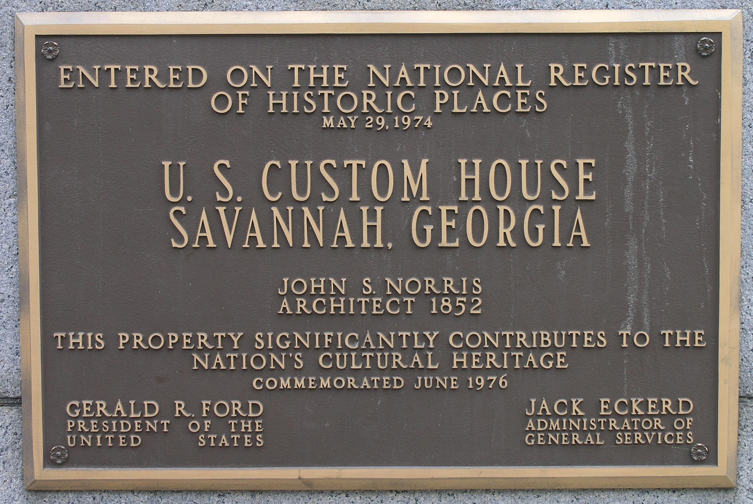 Savannah (GA) United States  City new picture : United States Customs House plaque in Savannah, Georgia ...