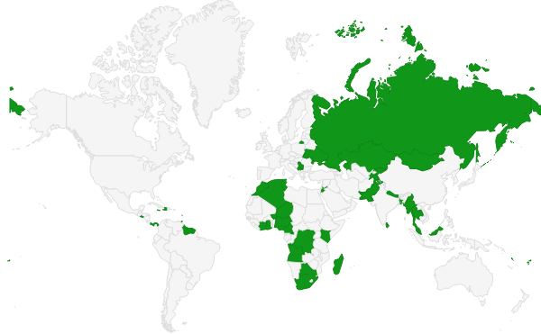Wikipedia Zero countries as of January 1 2016.png