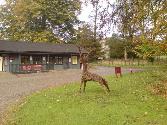 'Willow Stag Sculpture' at Welcome Centre, Newton House, Dinefwr Park and Castle, Llandeilo - geograph.org.uk - 1552527