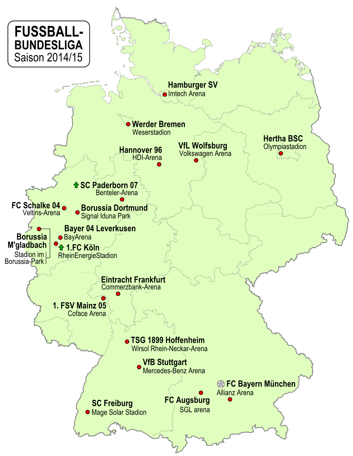 Locations of the 1st 2nd and 3rd league clubs in Germany xpost