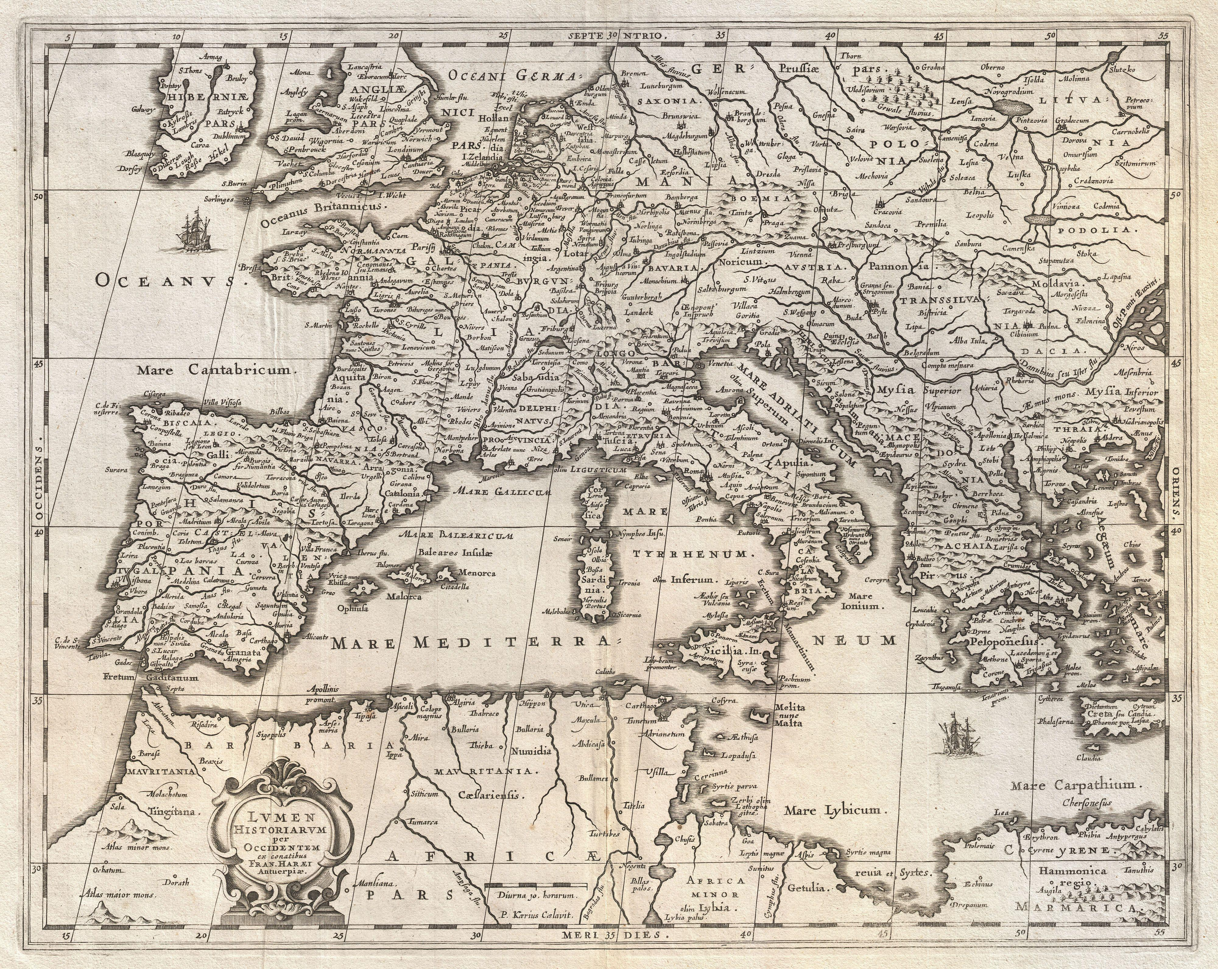 Old Map of Italy and Mediterranean