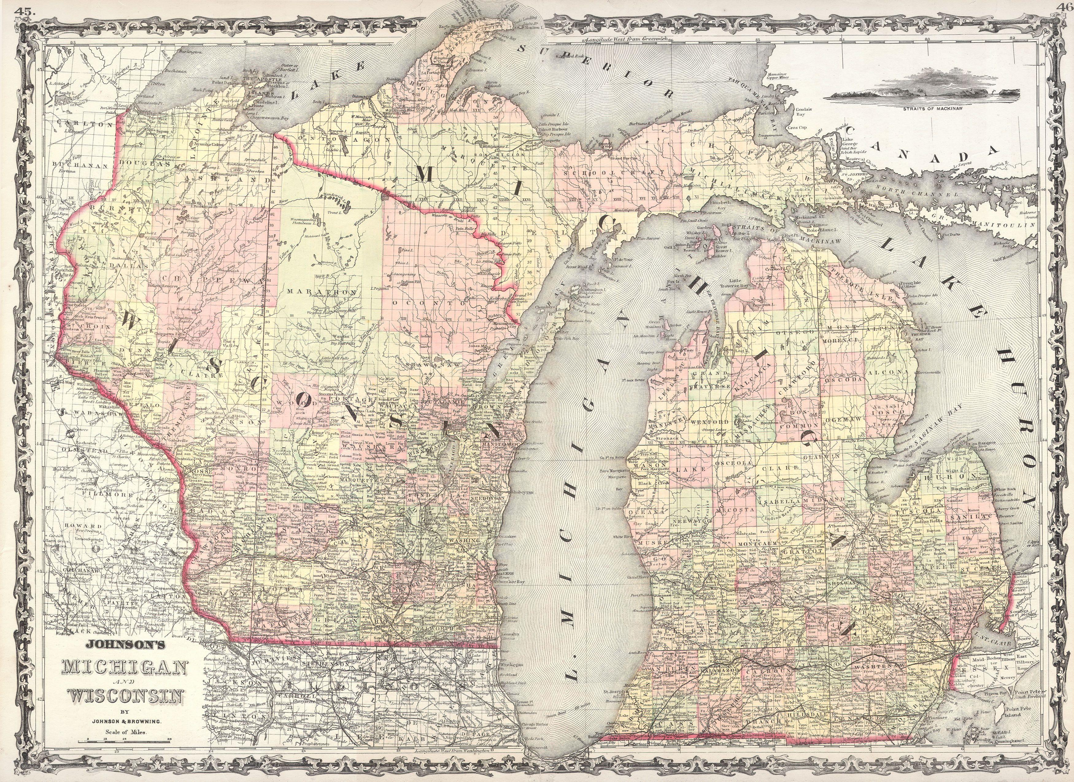 File1862 Johnson Map Of Wisconsin And Michigan