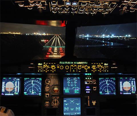 Jet landing at night