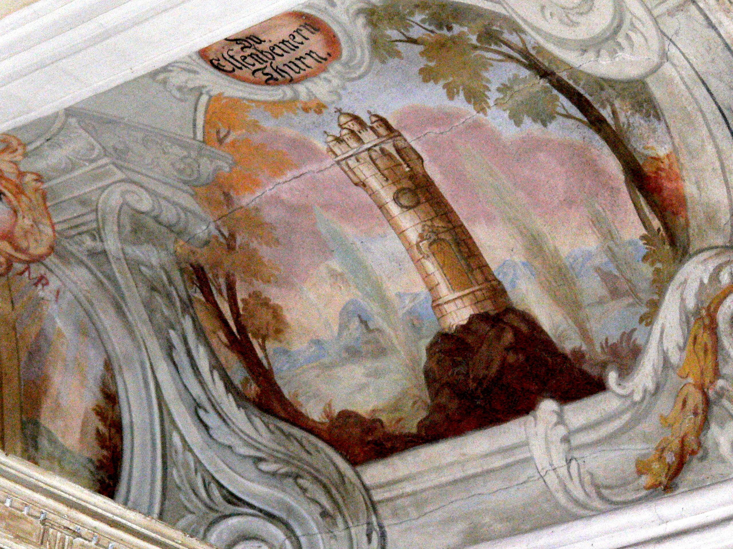 Anrufung Marias als elfenbeinerner Turm auf einem Fresko in der Frauenkapelle in Altenmark (Osterhofen)