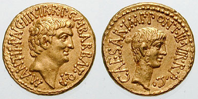 Roman aurei bearing the portraits of Mark Antony (left) and Octavian (right), issued in 41 BC to celebrate the establishment of the Second Triumvirate by Octavian, Antony and Marcus Lepidus in 43 BC Antony with Octavian aureus.jpg