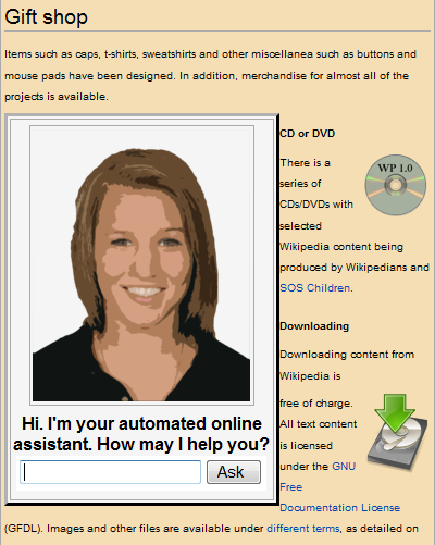 An example of an older generation of avatar-style automated online assistant on a merchandising website.