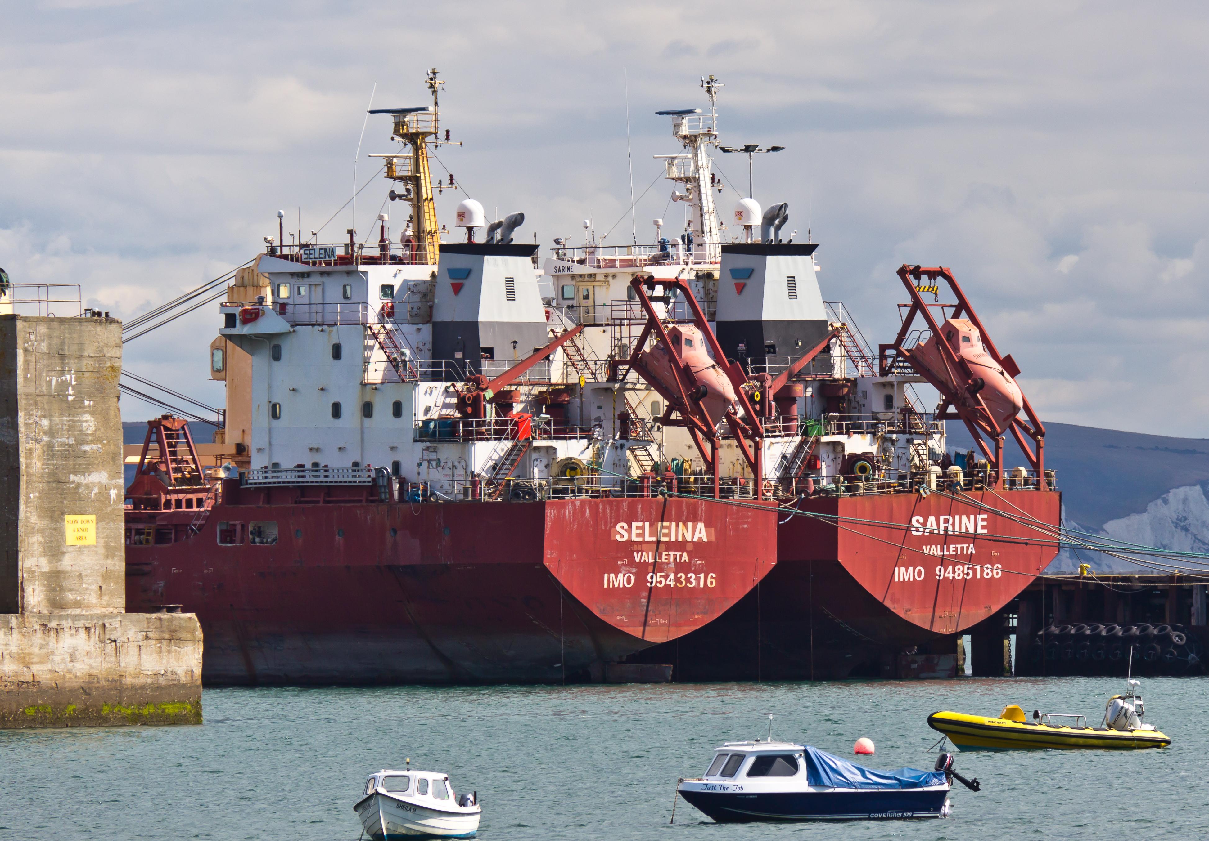 File:Bulk carriers Seleina and Sarine in Portland Harbour-9438 jpg