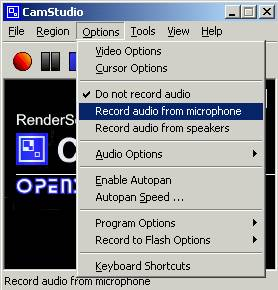 The options menu of the CamStudio desktop-reco...