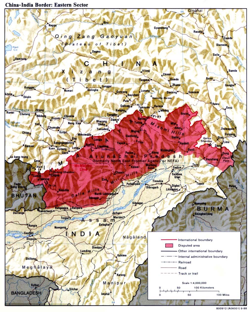Le secteur oriental : NEFA/Arunachal Pradesh