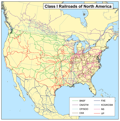 Railroad Classes Wikipedia - Map of the us rail system