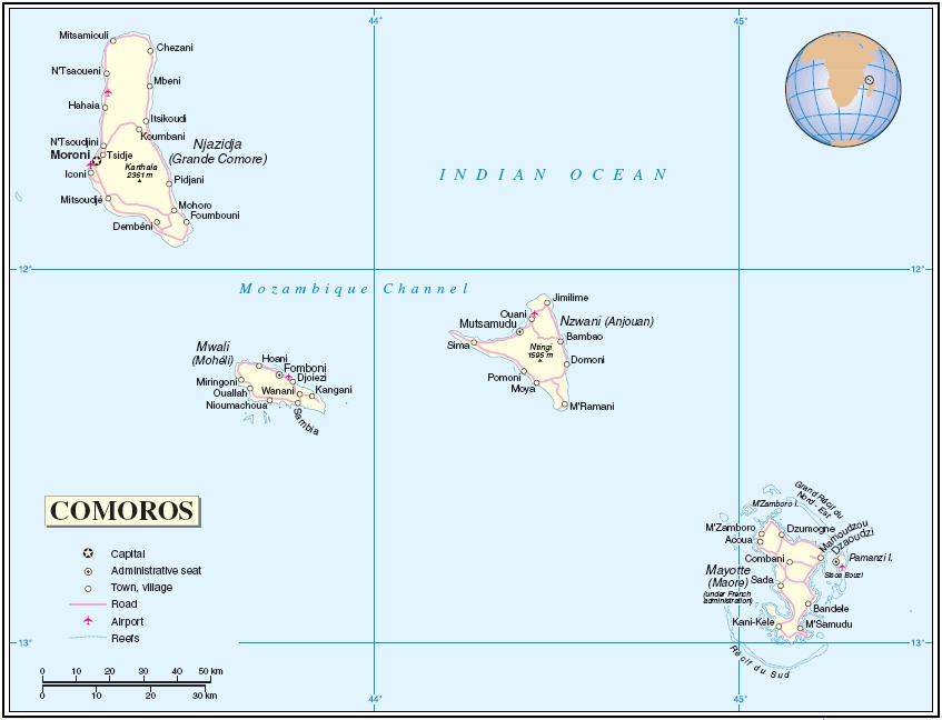 Mapa de  Comoras