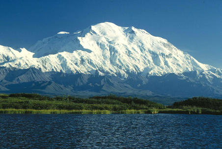 Denali in Alaska is the highest mountain peak of North America. Denali is the third most topographically prominent and third most topographically isolated summit on Earth after Mount Everest and Aconcagua. Denali Mt McKinley.jpg