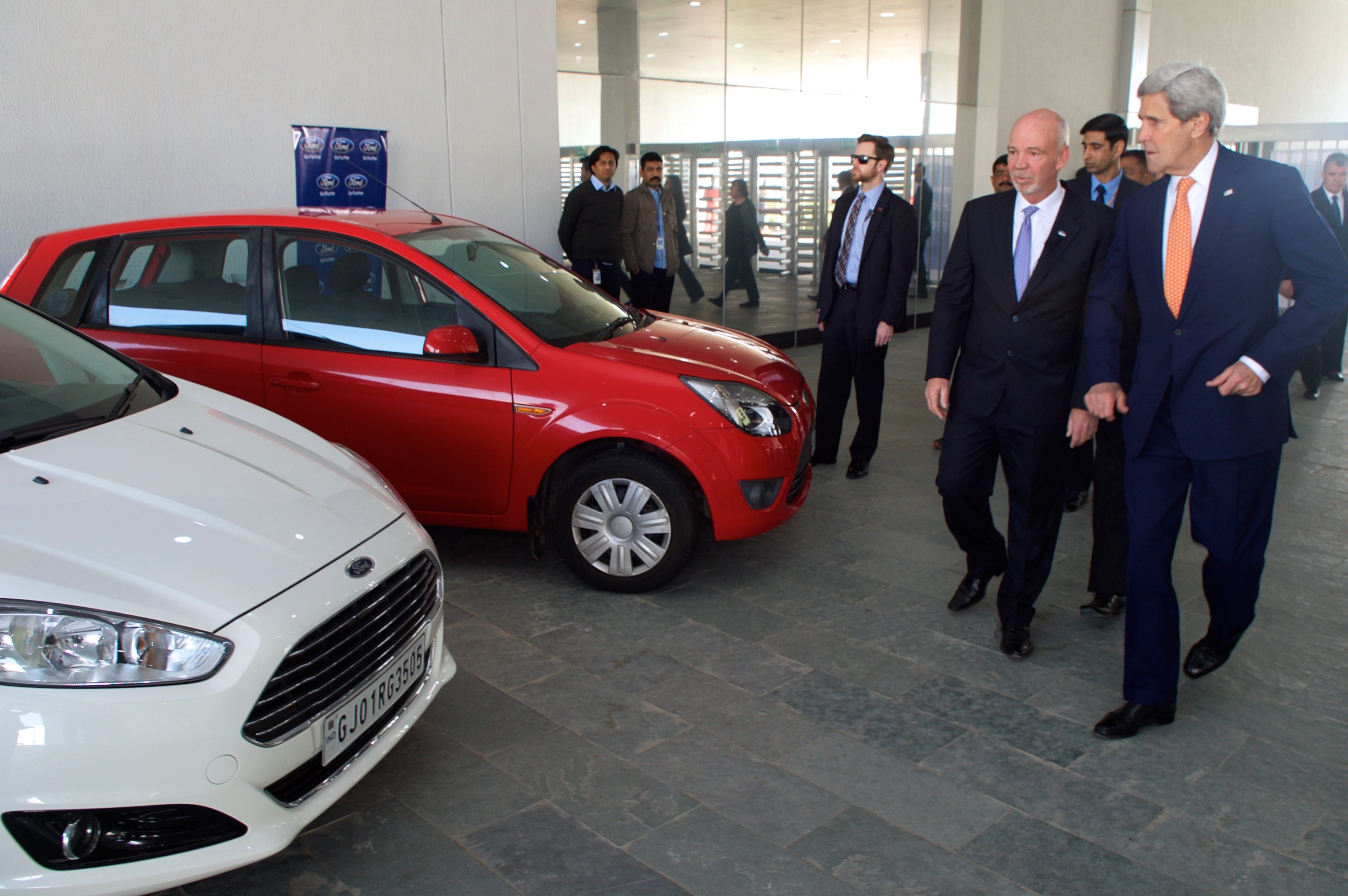ford president car. file:ford india president shows secretary kerry car models as he tours new factory amid ford