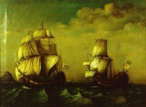 Fragata de Blas de Lezo remolcando al buque británico Stanhope