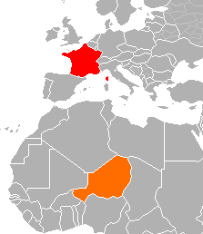Map indicating locations of France  and Niger