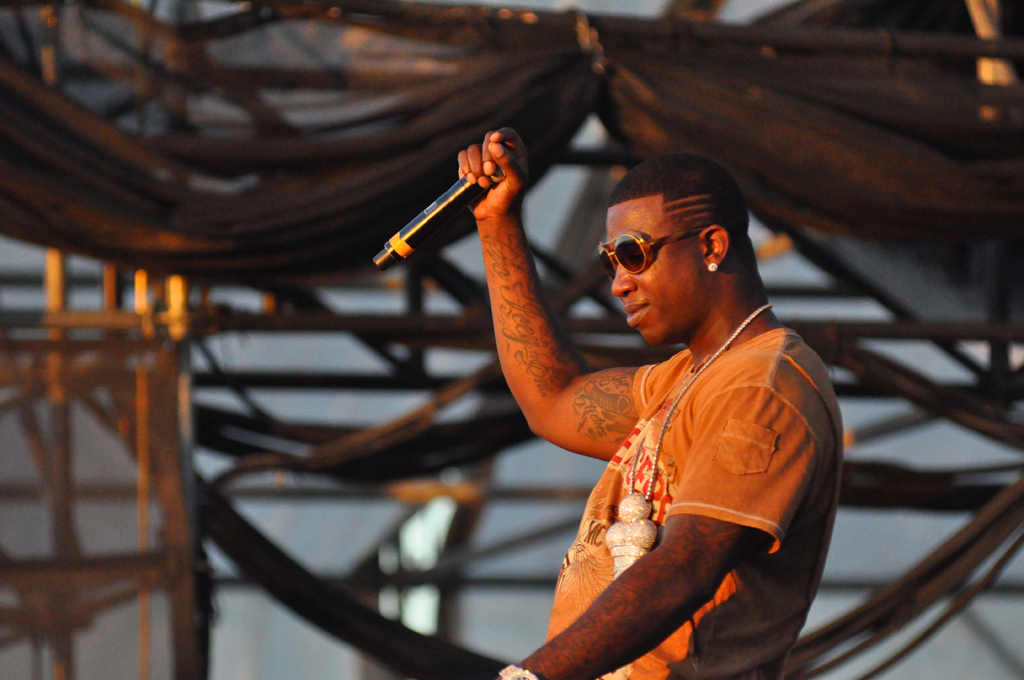 This is a photo of gucci mane performing at a concert before his prison term