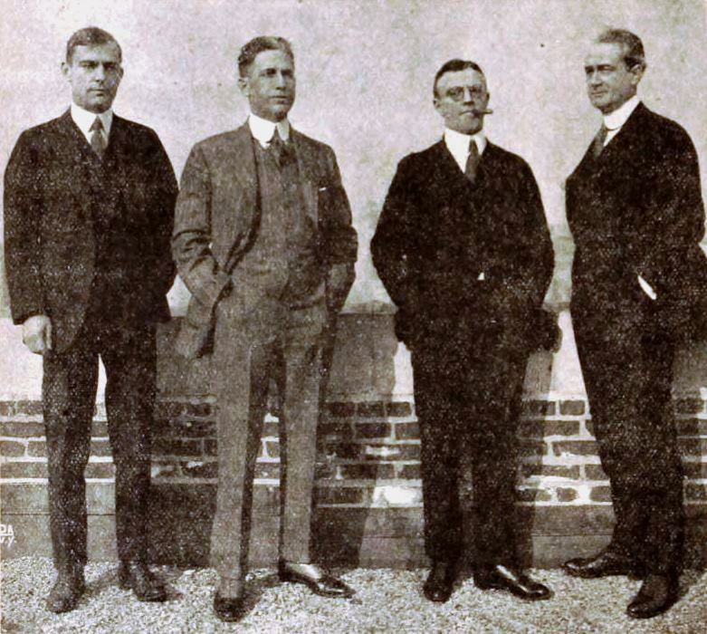 E. B. Johnson, James Oliver Curwood second from left, [[Harry O. Schwalbe