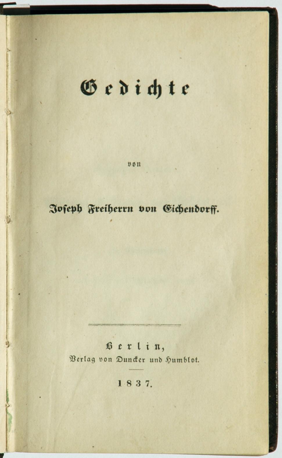Filejoseph Von Eichendorff Gedichte 1837jpg Wikimedia