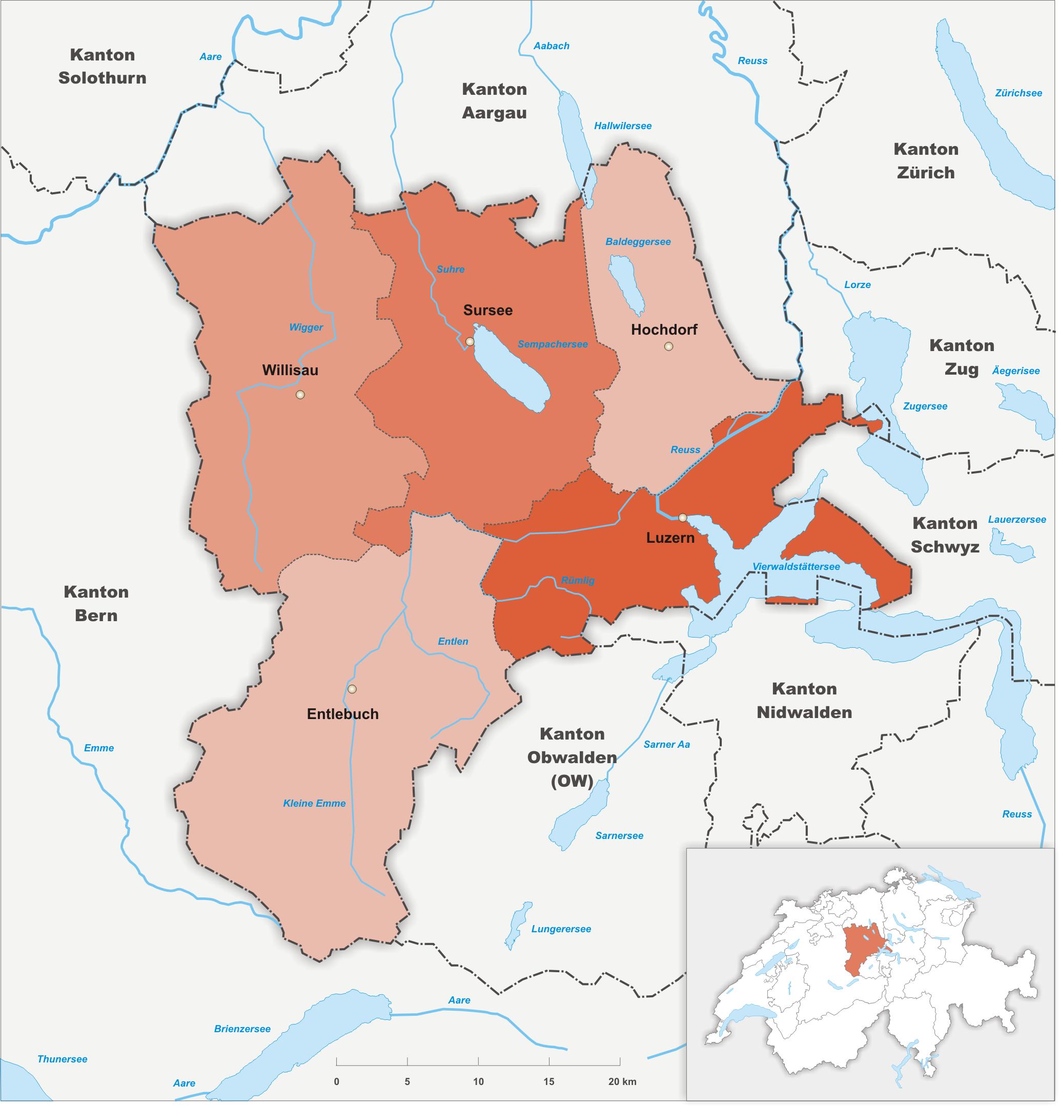Ämter (Bezirke) des Kantons Luzern