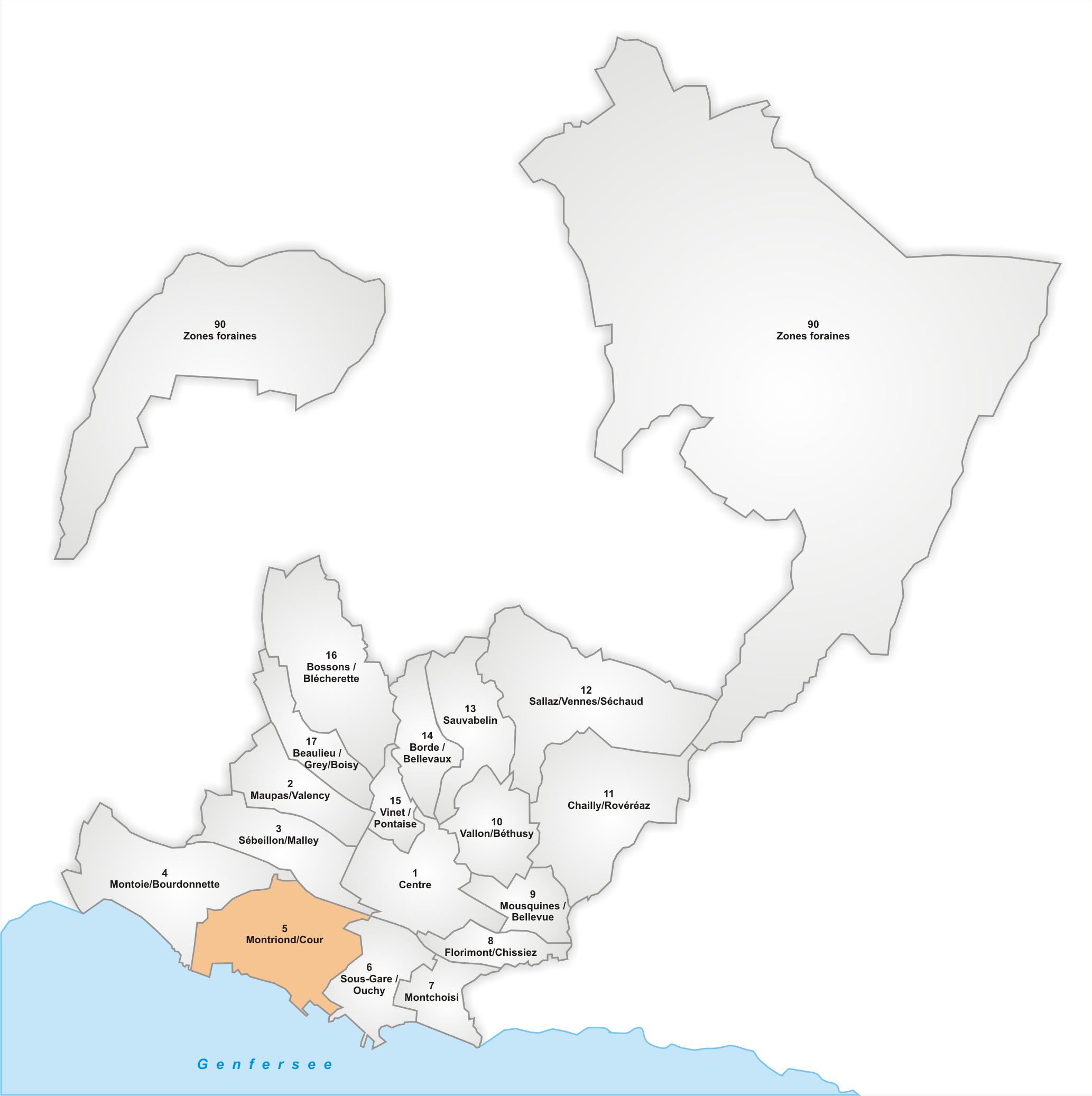 Lage des Stadtteils Montriond/Cour