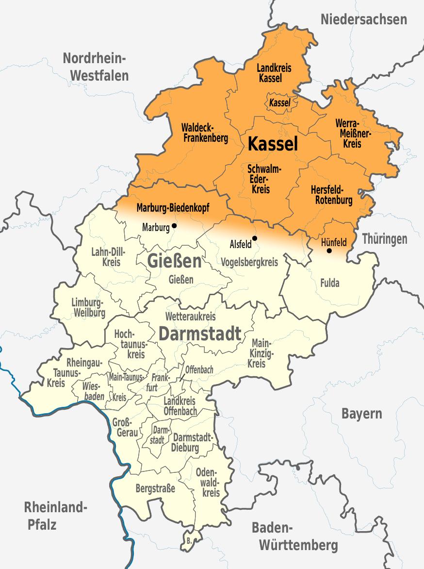 Karte Kassel Und Umgebung.Nordhessen Wikipedia