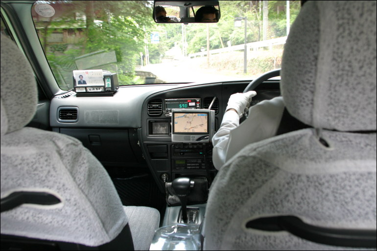 Automotive navigation system in a taxicab.