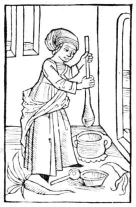 Woman churning butter; Compost et Kalendrier des Bergères, Paris, 1499