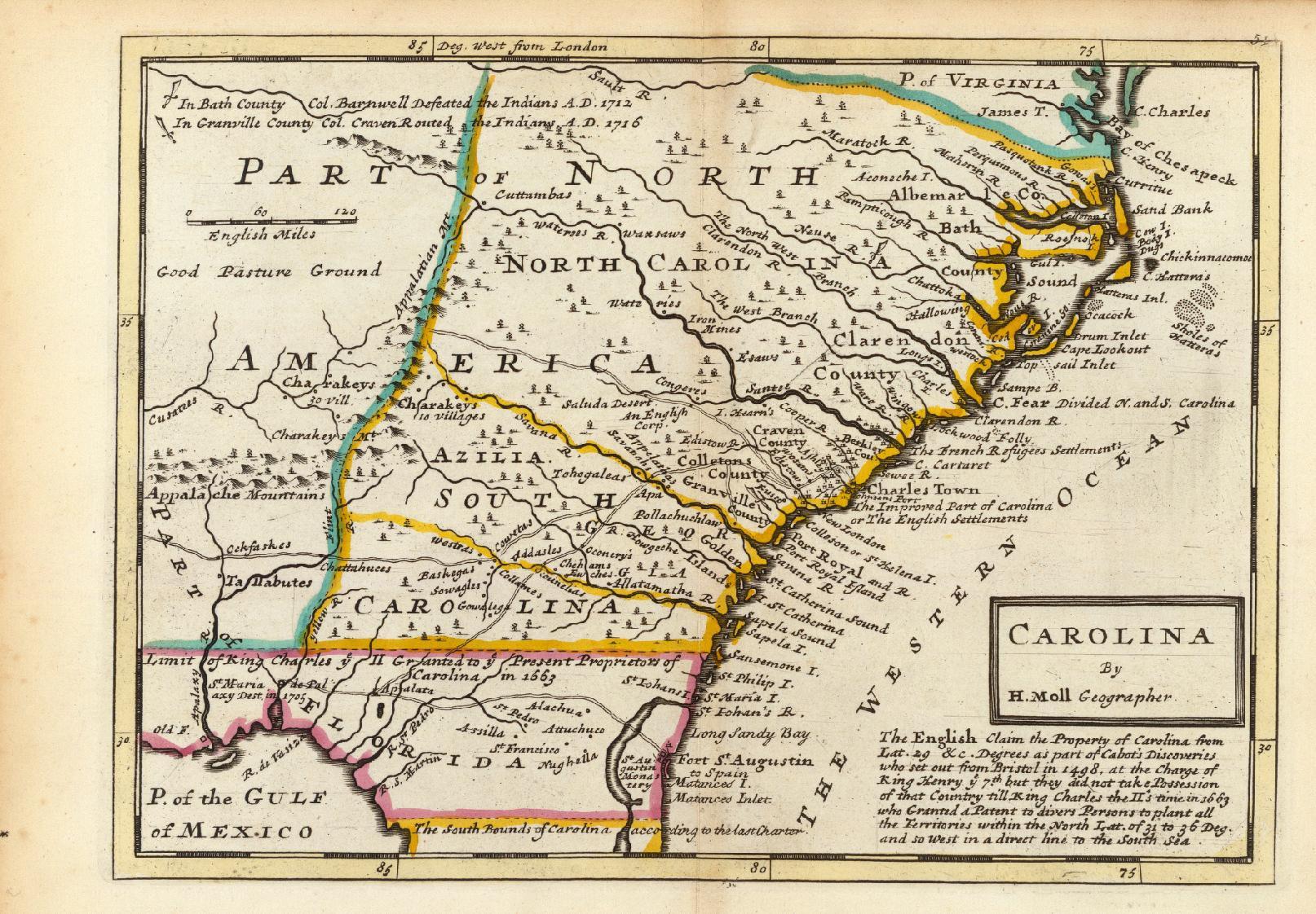 File:Map of the Carolinas by Herman Moll 1736.jpeg