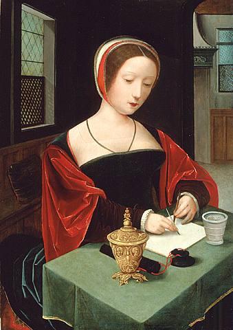 E, incluso, escriben Master_of_Female_Half-length_-_Saint_Mary_Magdalene_at_her_writing_desk_-_16th_c