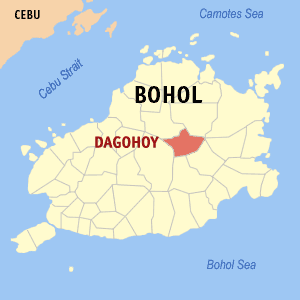 Map of Bohol showing the location of Dagohoy