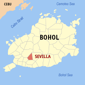 Map of Bohol showing the location of Sevilla