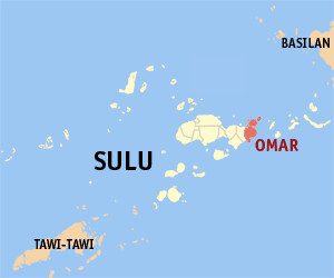 Map of Sulu showing the location of Omar