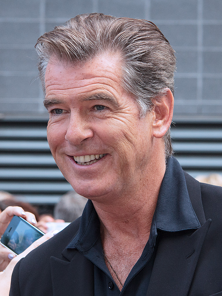 Pierce Brosnan  - 2018 Dark brown hair & chic hair style.