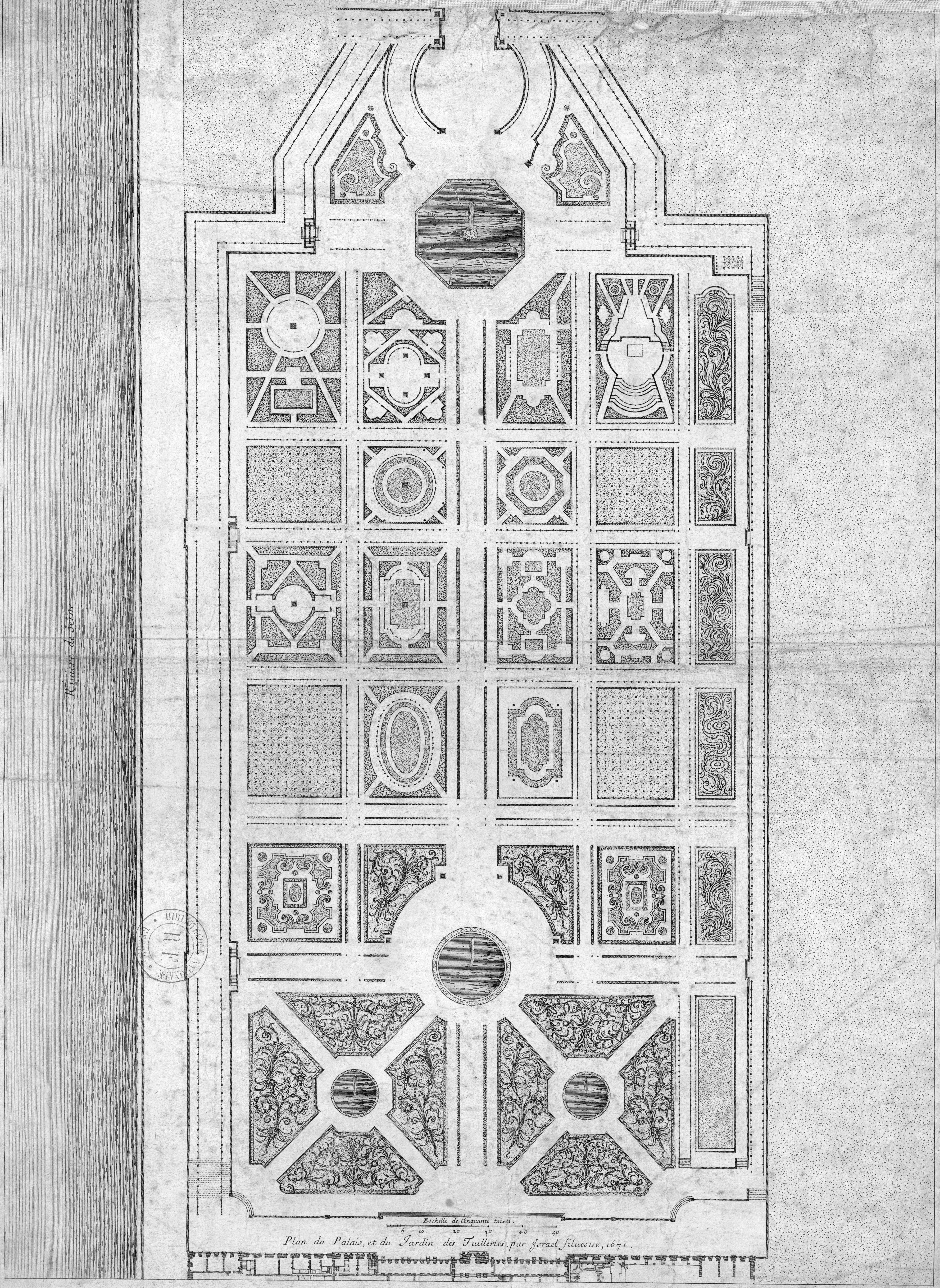 File Plan Du Jardin Des Tuileries Par Israel Silvestre 1671
