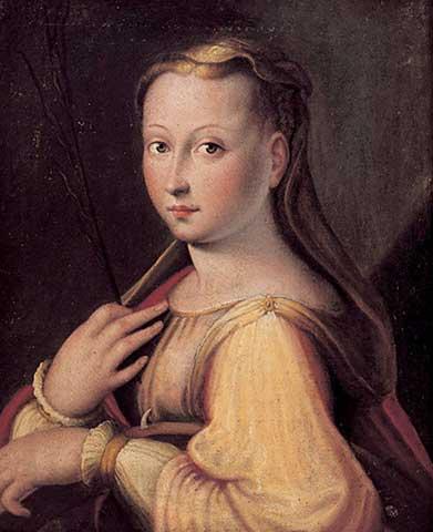 Autoritratto come Santa Caterina d'Alessandria (1589) di Barbara Longhi