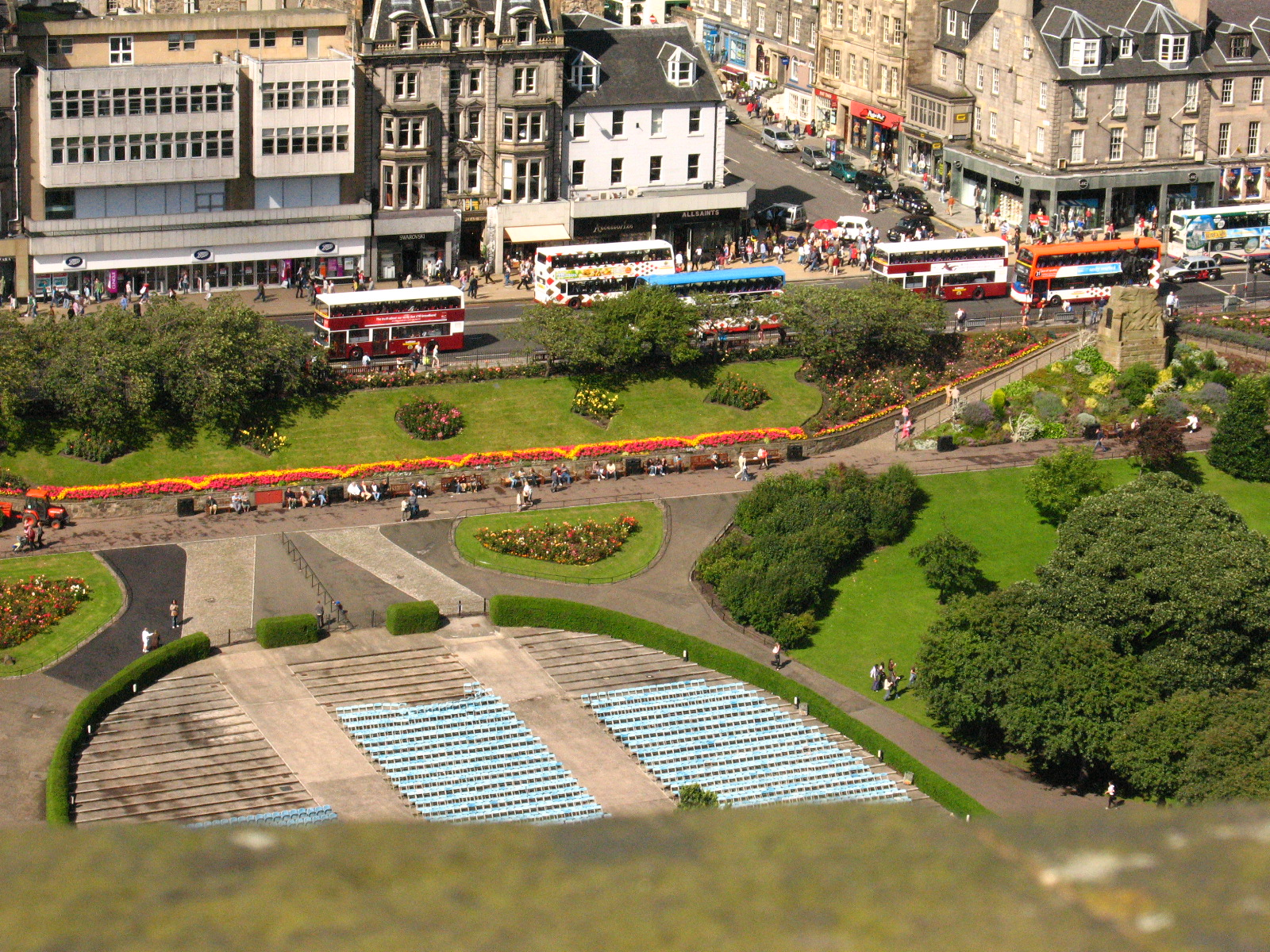 Princes Street, as seen from the crenelations of Edinburgh Castle, has been named Princes Street since the 18th century