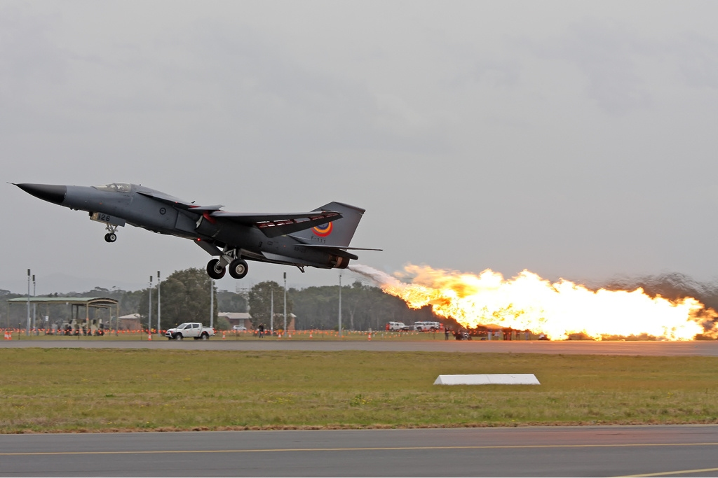 RAAF F 111 fuel dump and burn Williamtown Gilbert