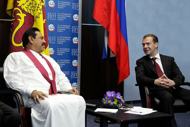 President Mahinda Rajapaksa with Russian President Dmitry Medvedev, at St. Petersburg Economic Forum, in June 2011.